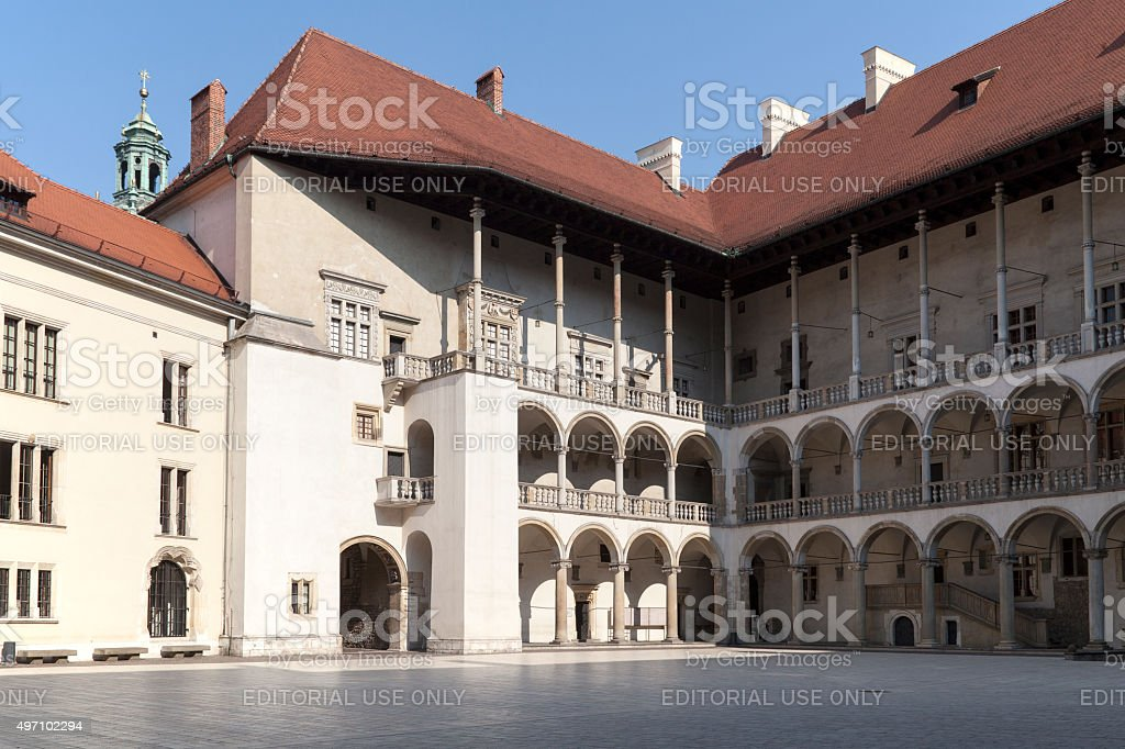 arcaded courtyard of Royal Castle Wawel in Cracow in Poland stock photo