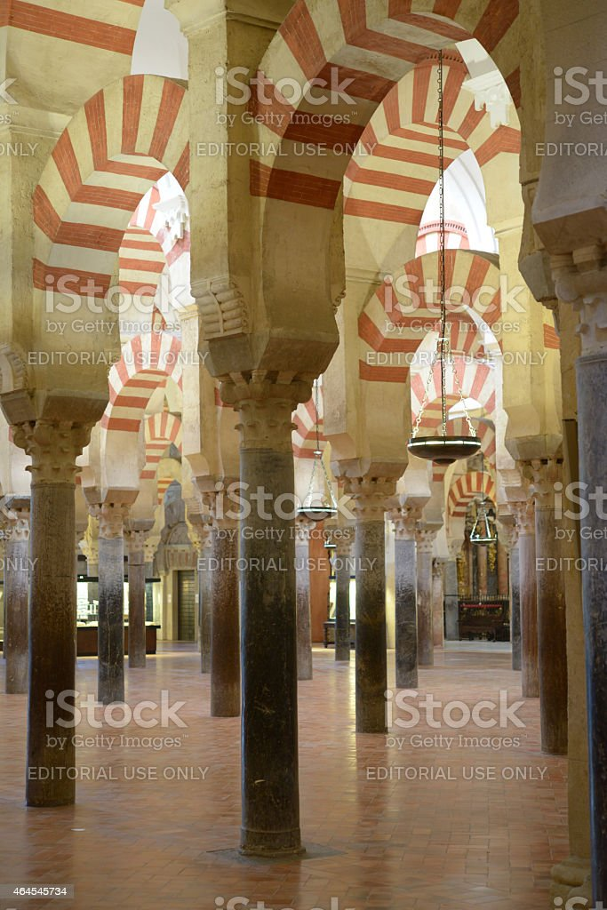 Arcaded hypostyle hall of the Mosque–Cathedral of Cordoba stock photo