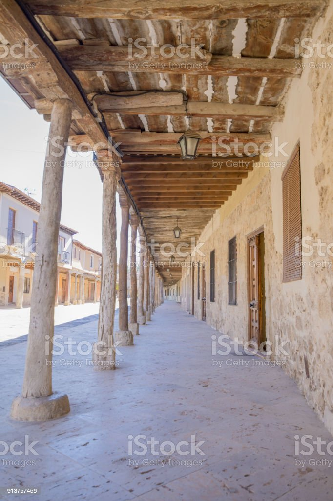 arcaded street from seventeenth century in Ampudia village stock photo