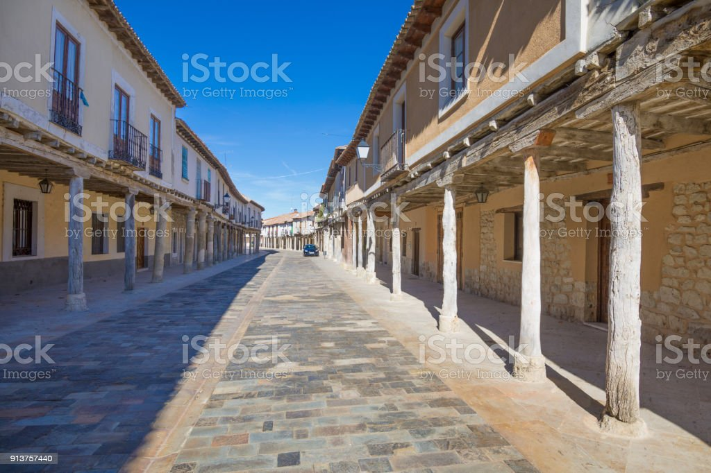 arcaded street in Ampudia village stock photo