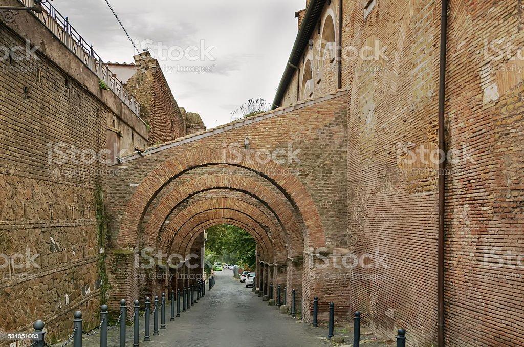 arcaded street, Rome stock photo