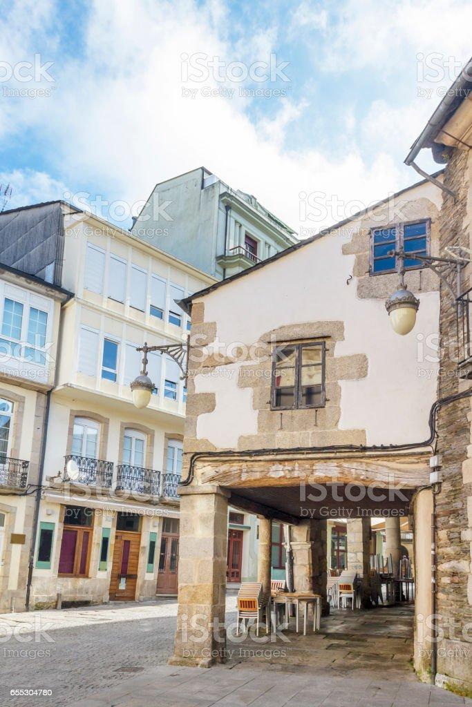 Arcaded streets of Lugo stock photo
