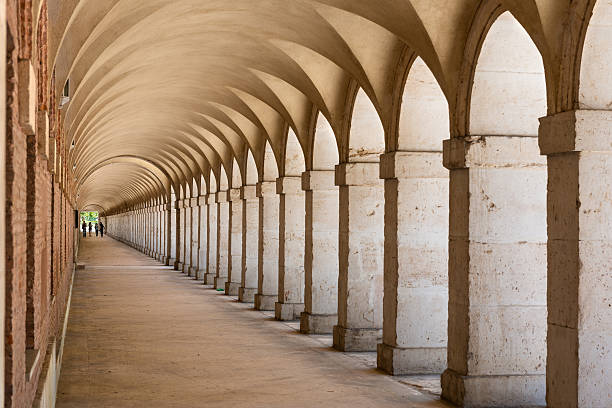 Arcades in Aranjuez, Madrid stock photo