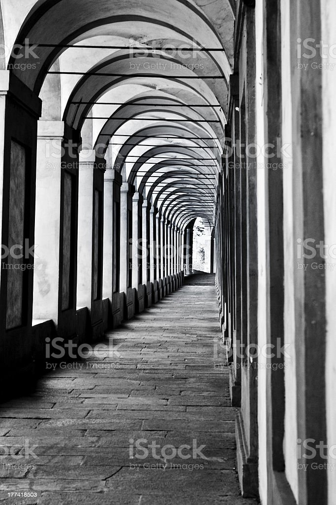 arcades in bologna, italy royalty-free stock photo