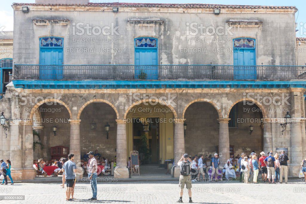 Arcades of the Palace of the Conde Lombillo. in the Cathedral Square, Old Havana, Cuba. stock photo