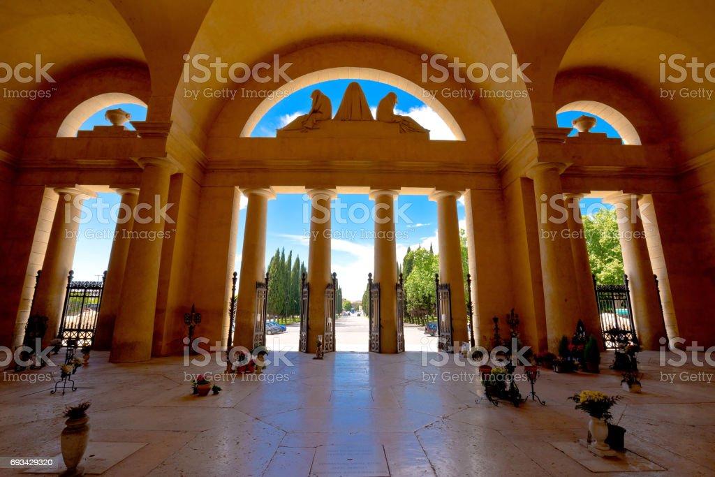 Arcades of Verona city cemetery, Veneto region of Italy stock photo