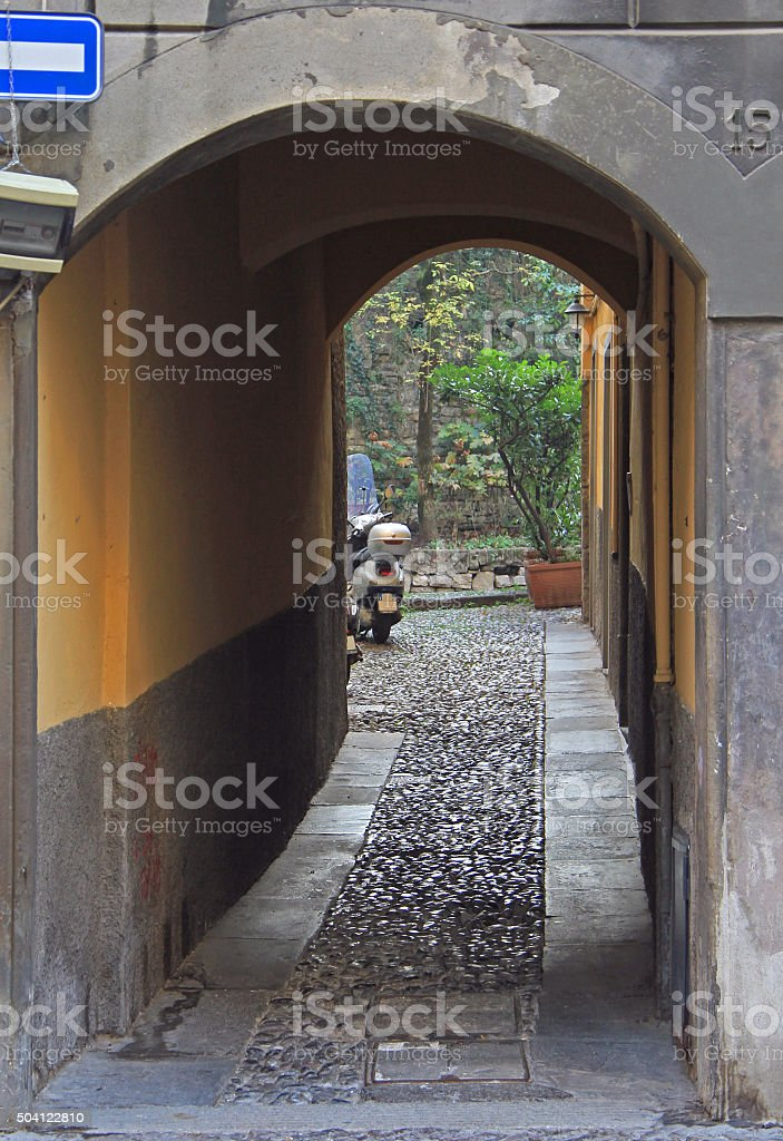 arch and courtyard in Bergamo stock photo