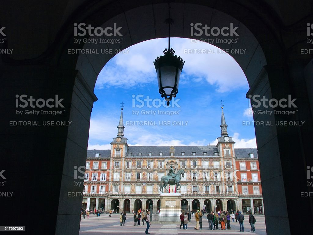 Arch and Lamp at Plaza Mayor Square stock photo