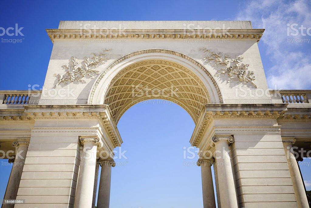 Arch at entrance to Legion of Honor in San Francisco stock photo