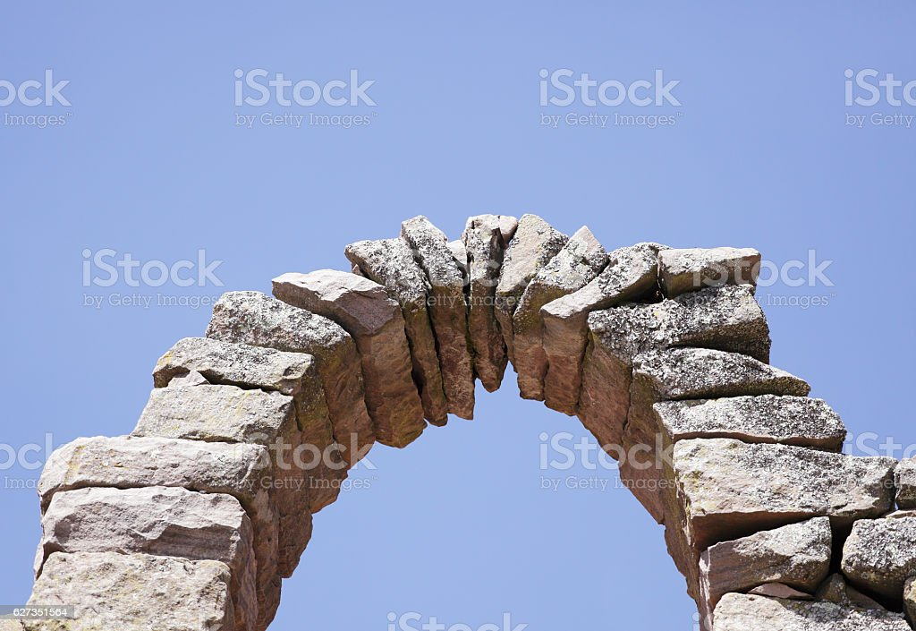 Arch at Lake Titicaca Peru stock photo