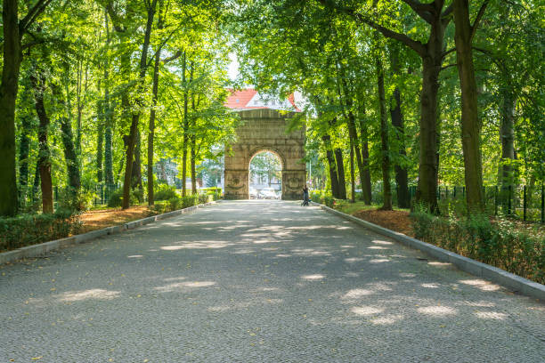 Arch at the exit of Treptow Park, Berlin, Germany stock photo