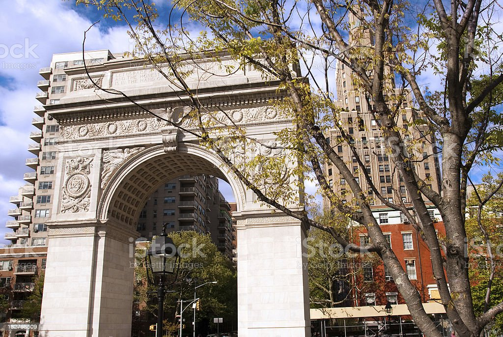 Arch at Washington Square Park in New York City royalty-free stock photo
