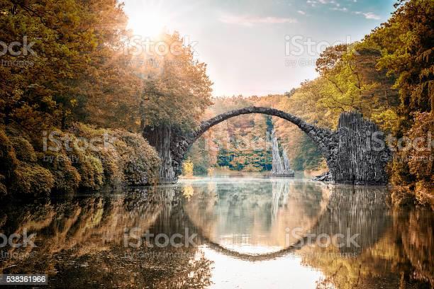 Photo of Arch Bridge (Rakotzbrucke) at Autumn