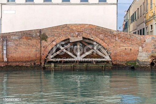 Brick Arch Bridge Brace Support in Murano Venice