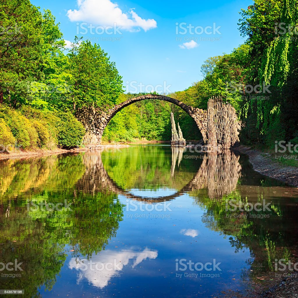 Arch Bridge (Rakotzbrucke) in Kromlau, Germany stock photo