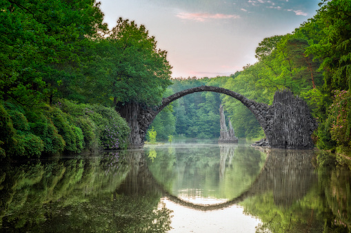 Arch Bridge (Rakotzbrucke or Devils Bridge) in Kromlau, Germany
