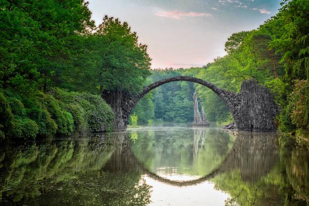 Arch Bridge (Rakotzbrucke) in Kromlau stock photo