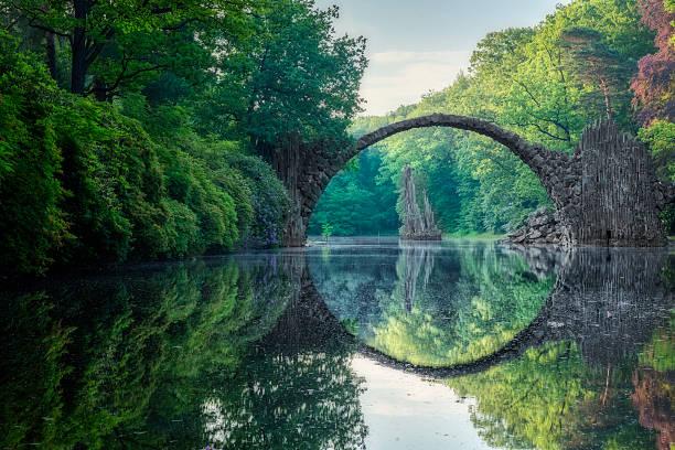 most łukowy (rakotzbrucke) w kromlau - staw woda stojąca zdjęcia i obrazy z banku zdjęć