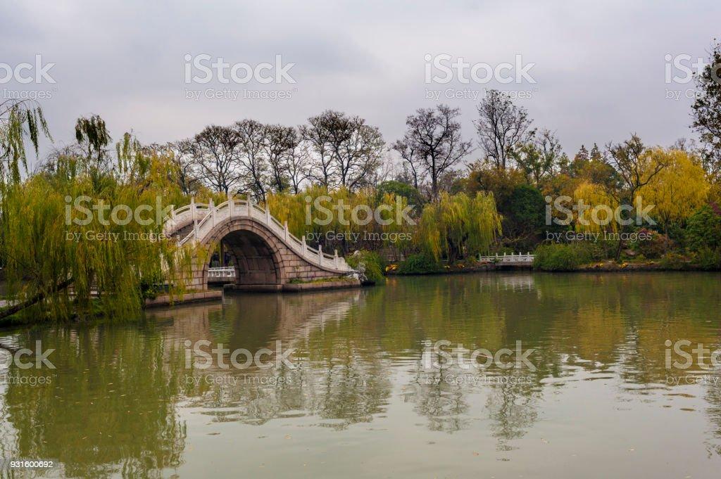 Arch bridge in Slender West Lake, Yangzhou stock photo