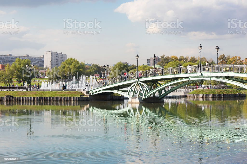 Arch bridge in Tsaritsyno royalty-free stock photo