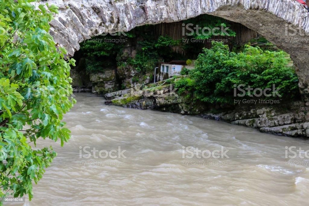 Arch bridge of queen Tamara across Adzhariszkhali river in Adjara royalty-free stock photo