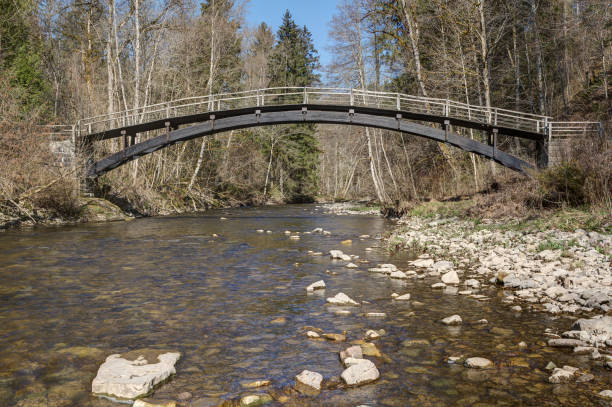 Arch bridge over the river Wutach in the Black Forest. stock photo