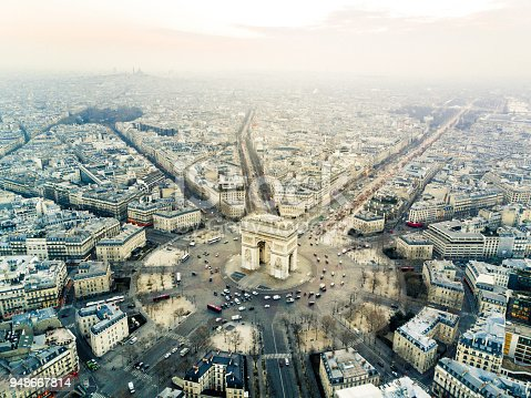 Aerial view of Arch de triomphe