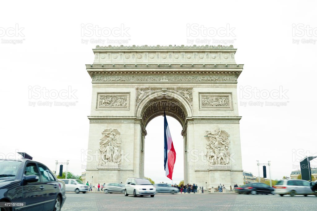 Arch de Triumph, French Flag stock photo