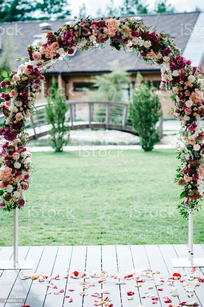 Arch For Wedding Ceremony A Is Decorated With Pink Hydrangeas Roses
