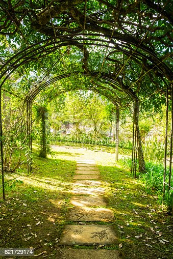 istock Arch green soft natural path walkway 621729174