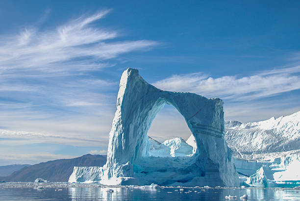 arch iceberg in greenland - iceberg stock photos and pictures