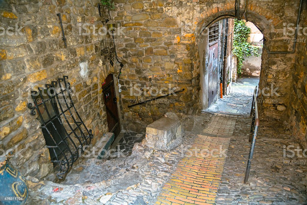 Arch in Old Town of San Remo stock photo