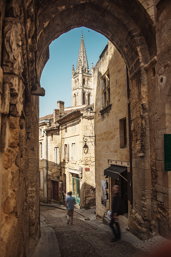 The arch in Saint-Emilion, France, one of the landmarks of this winemaking town near Bordeaux, France.