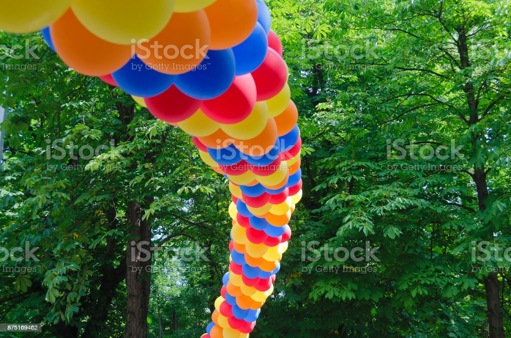 arch made from colorful balloons stock photo