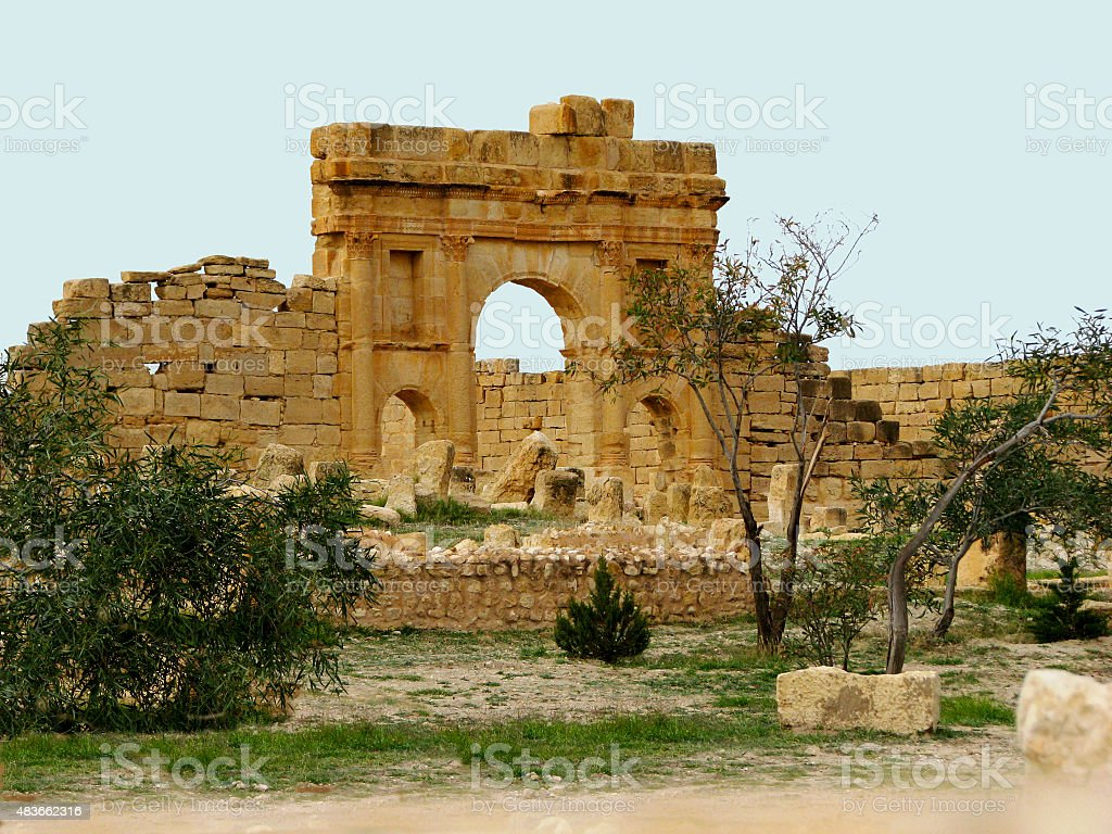 Arch of Antoninus Pius, Sufetula stock photo
