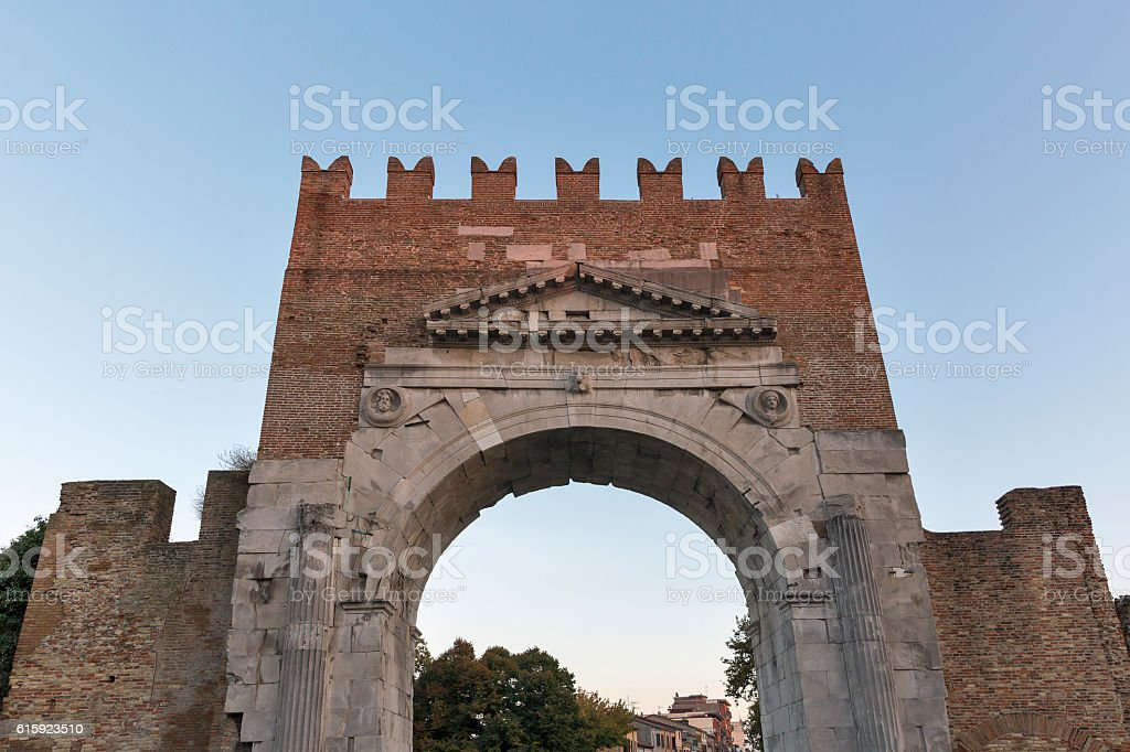 Arch of Augustus at sunset in Rimini, Italy stock photo