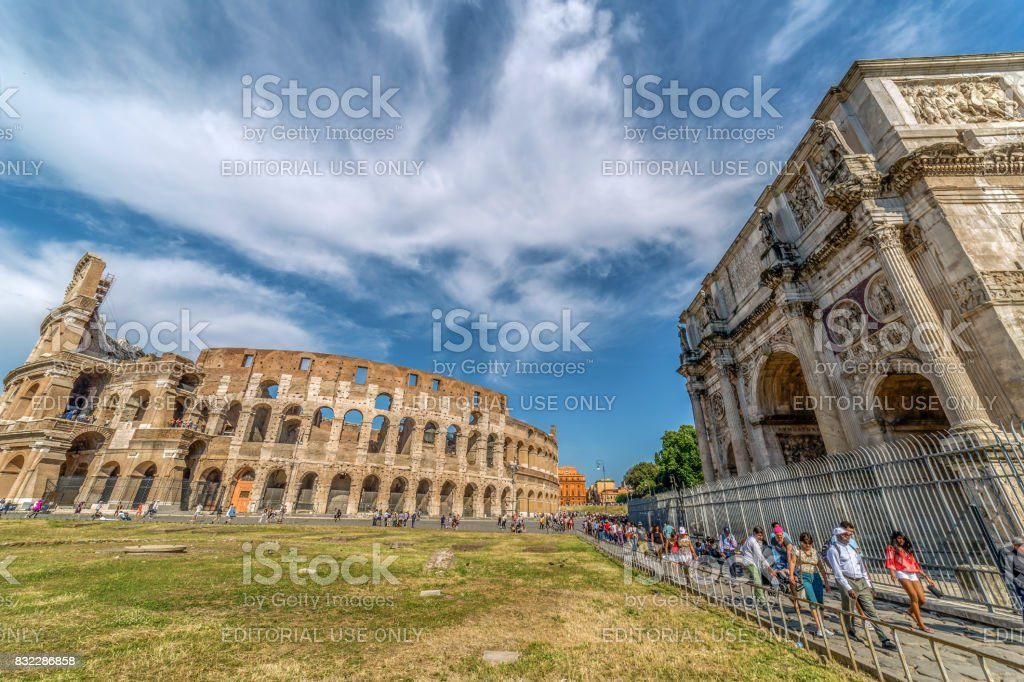 Arch of Constantine and Coliseum in Rome, Italy stock photo
