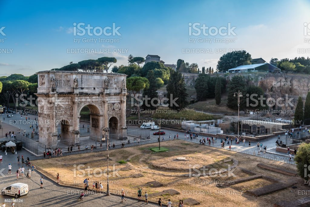 Arch of Constantine in Rome at sunset stock photo