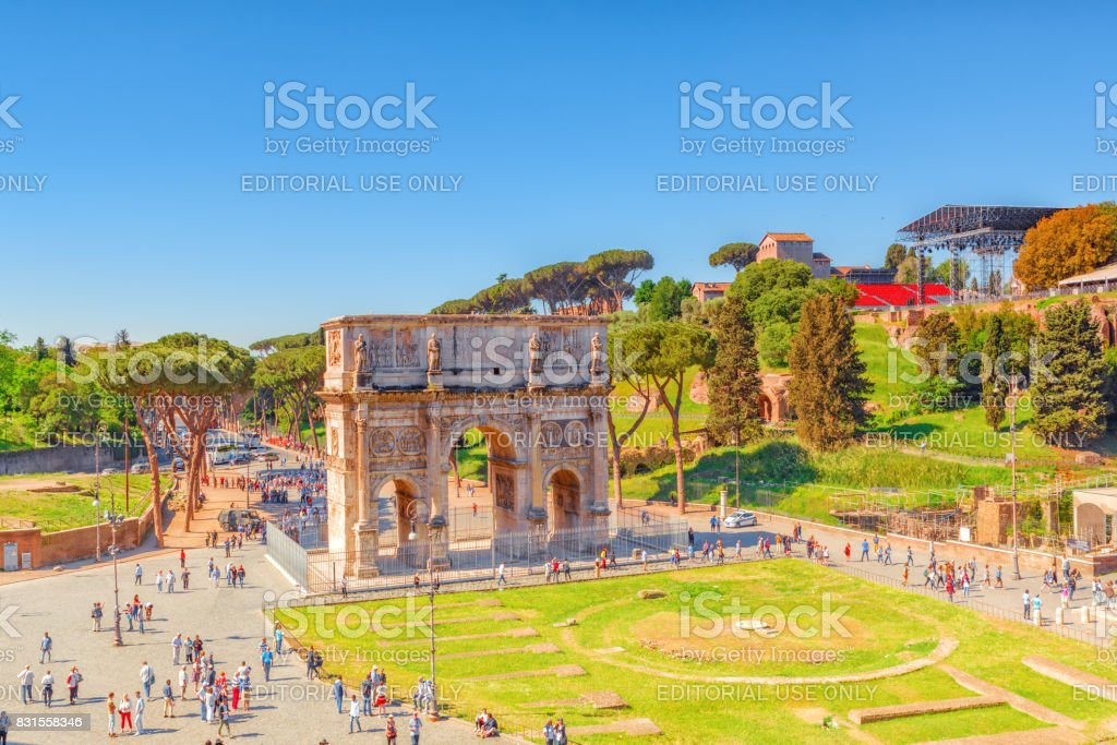 Rome, Italy - May 08, 2017 : Arch of Constantine (Italian: Arco di Costantino) is a triumphal arch in Rome. stock photo