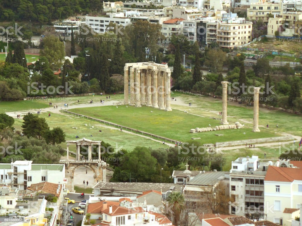 Arch of Hadrian and Temple of Olympian Zeus as seen from Areopagus Hill or Mars Hill, Athens stock photo