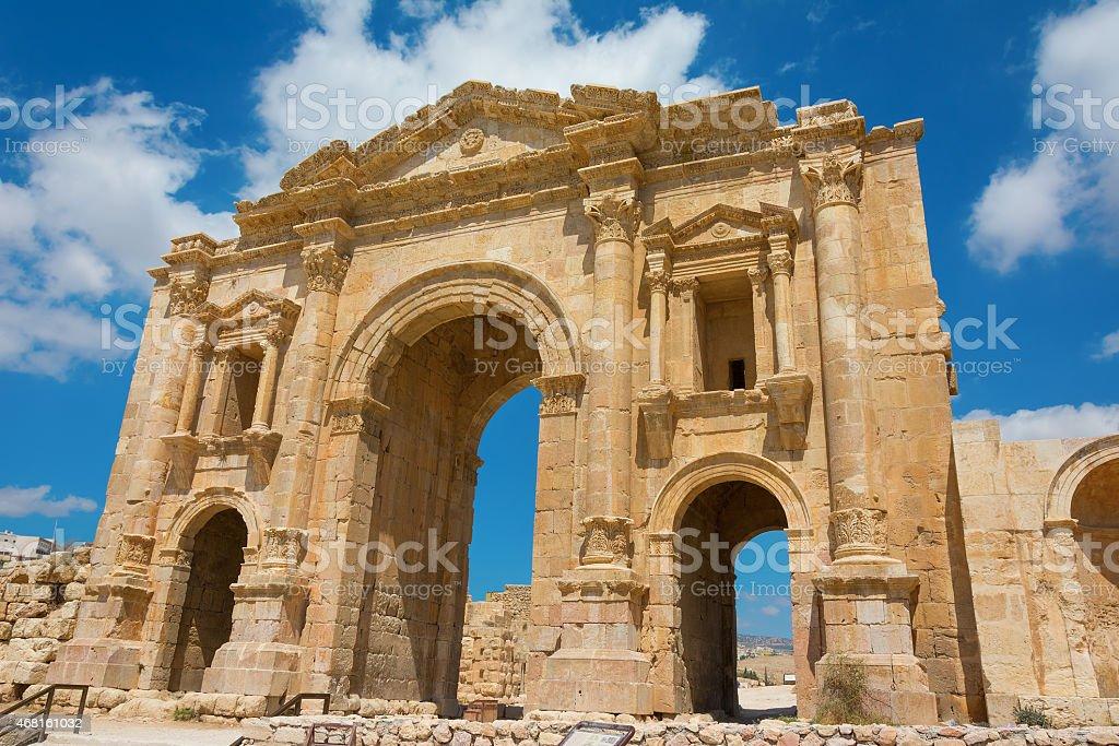 Arch of Hadrian at Jerash in Jordan stock photo