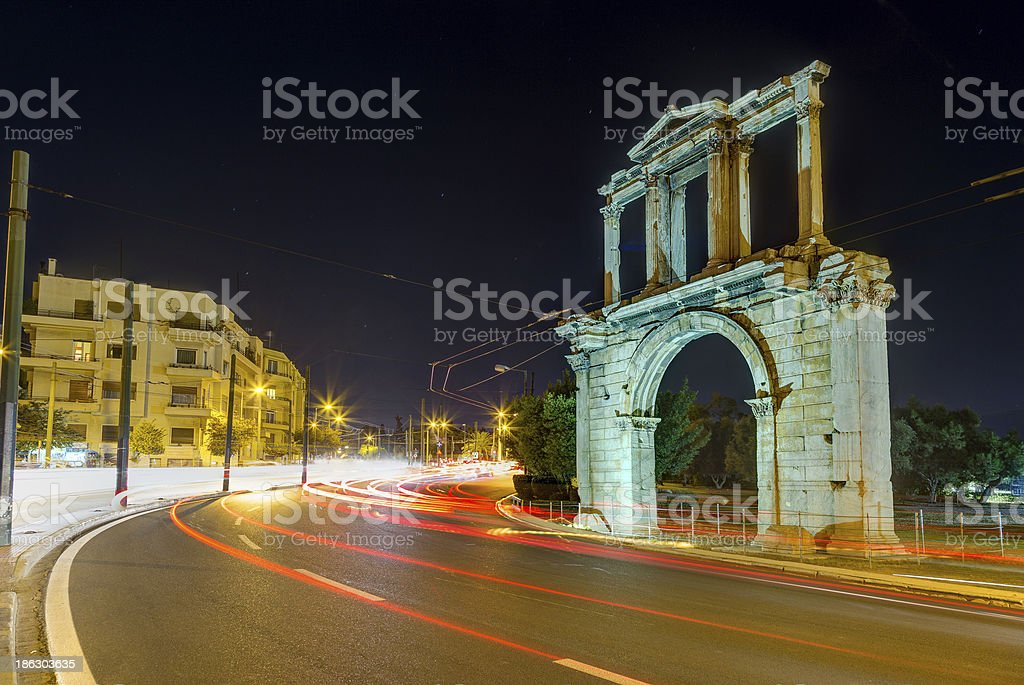 Arch of Hadrian at night, Athens, Greece stock photo