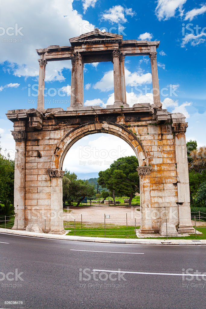 Arch of Hadrian in Athens, Greece stock photo