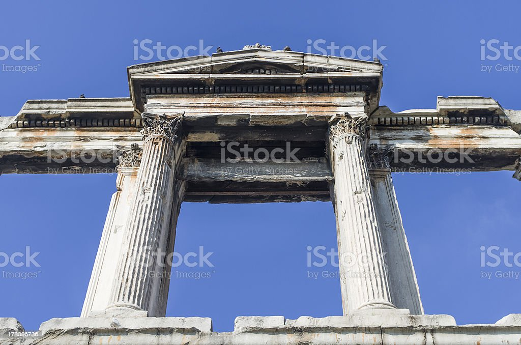 Arch of Hadrian in Athens royalty-free stock photo