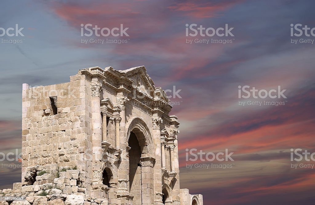 Arch of Hadrian in Jerash, Jordan stock photo