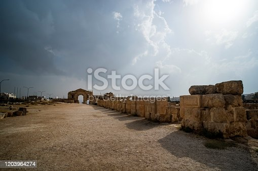 istock Arch of Hadrian in the ancient Jordanian city of Gerasa, preset-day Jerash, Jordan. It is located about 48 km north of Amman. ancient Roman city of Jerash is one of the main attractions of Jordan. 1203964274