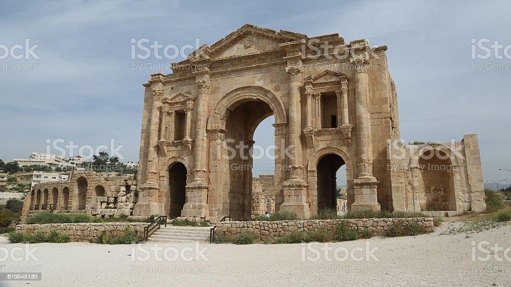 Arch of Hadrian Jerash stock photo