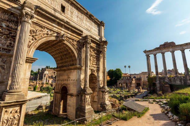Arch of Imperial Forum - Rome Italy Arch of Imperial Forum - Rome Italy unesco stock pictures, royalty-free photos & images