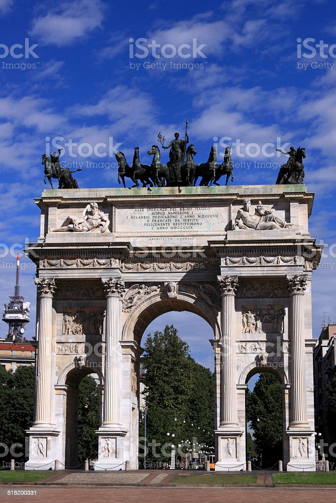 Arch of Peace - Arco della Pace Arco della Pace in Parco Sempione, Milan, Italy. Ancient Stock Photo