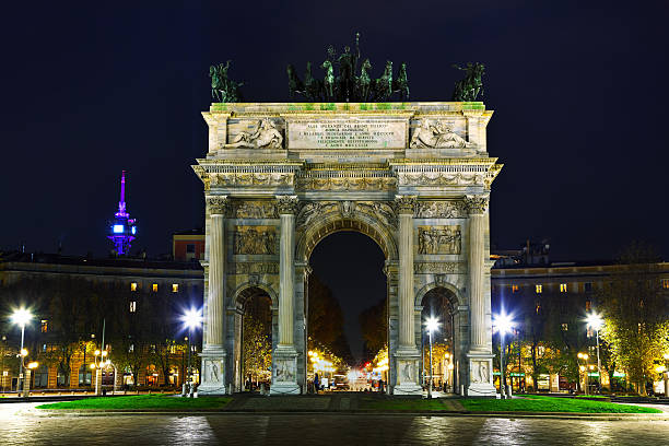 Arch of Peace in Milan, Italy stock photo